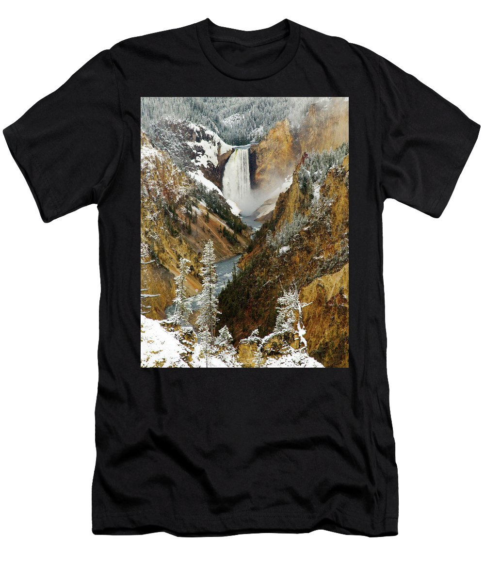 Yellowstone Men's T-Shirt (Athletic Fit) featuring the photograph Lower Falls by Steve Stuller