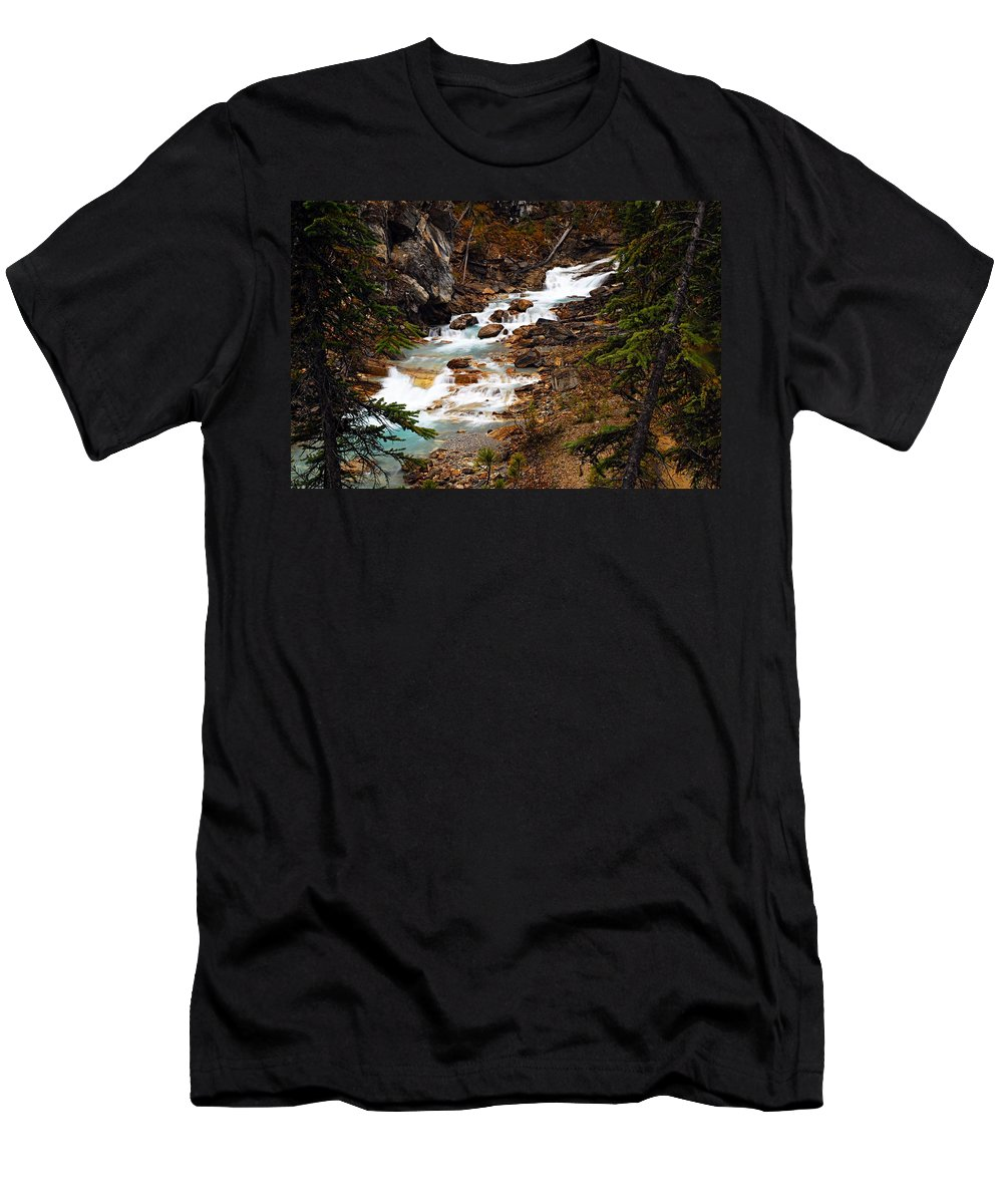 Twin Falls Men's T-Shirt (Athletic Fit) featuring the photograph Lower Twin Falls by Larry Ricker