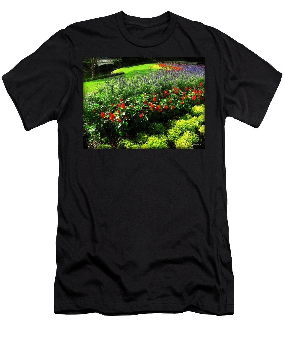 Floral Men's T-Shirt (Athletic Fit) featuring the photograph Magic Kingdom Garden by Joan Minchak