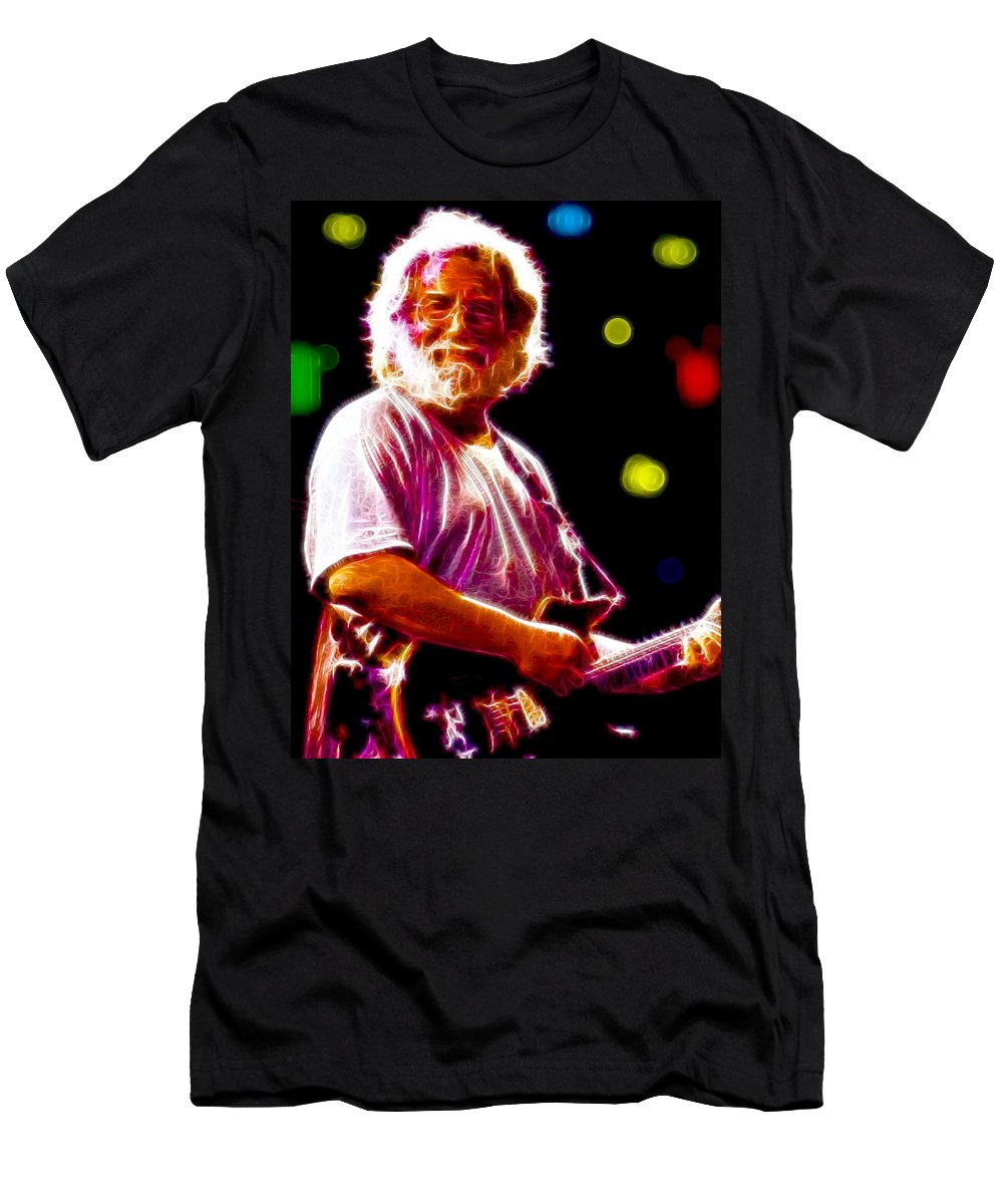 Jerry Garcia Men's T-Shirt (Athletic Fit) featuring the painting Magical Jerry Garcia by Paul Van Scott