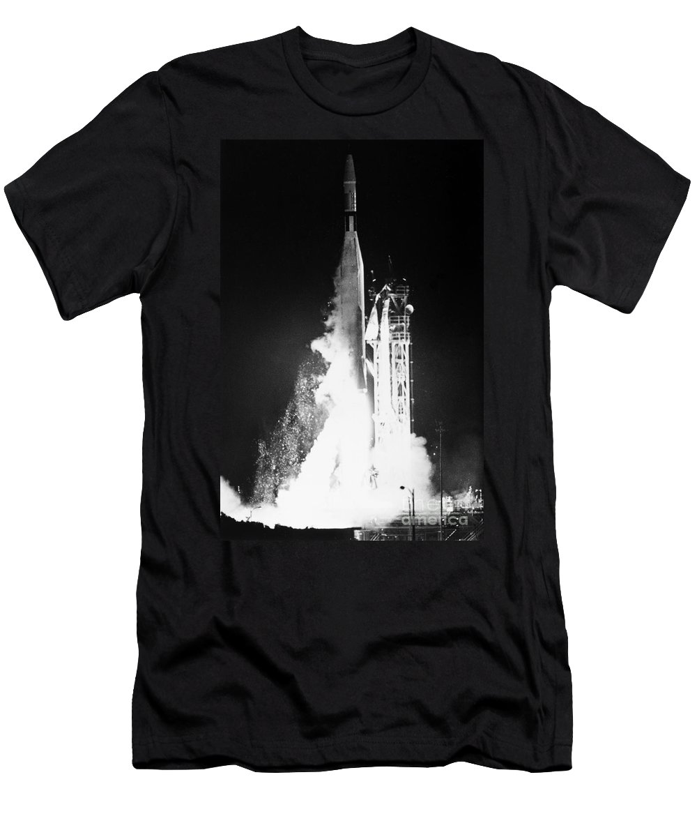 1962 Men's T-Shirt (Athletic Fit) featuring the photograph Mariner 1: Launch, 1962 by Granger
