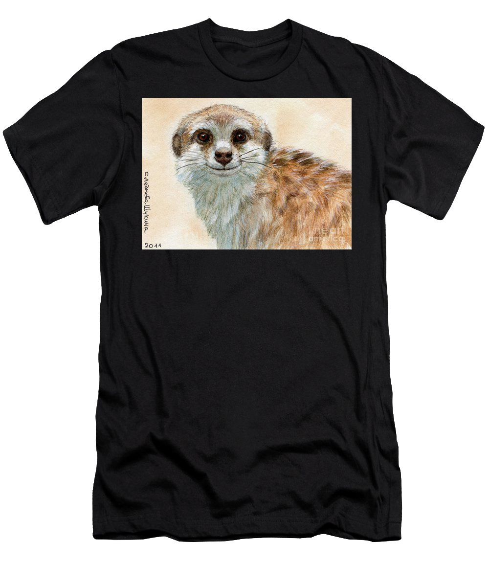 Suricata Men's T-Shirt (Athletic Fit) featuring the painting Meerkat 762 by Svetlana Ledneva-Schukina