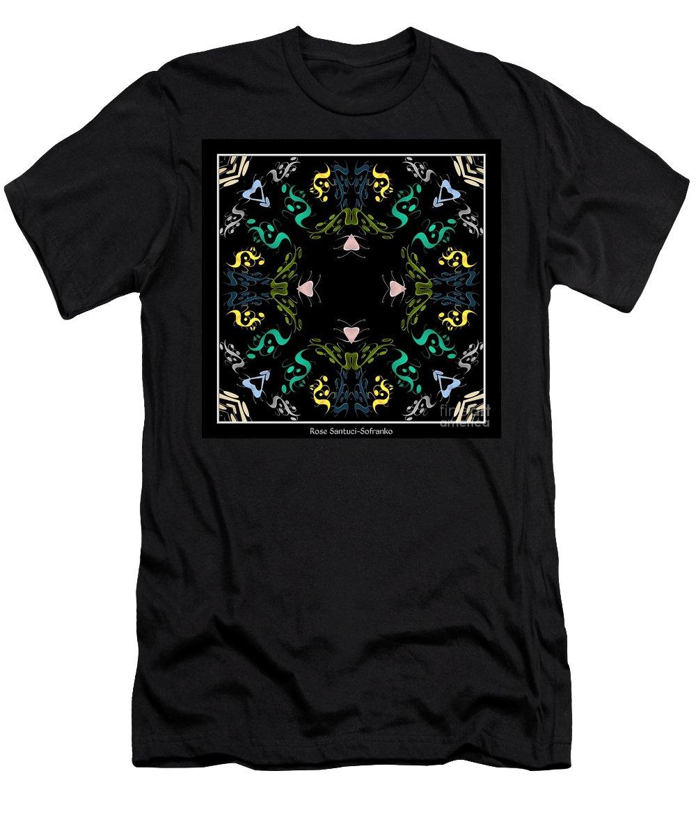 Metallics Men's T-Shirt (Athletic Fit) featuring the digital art Metallic Flourishes Warp by Rose Santuci-Sofranko