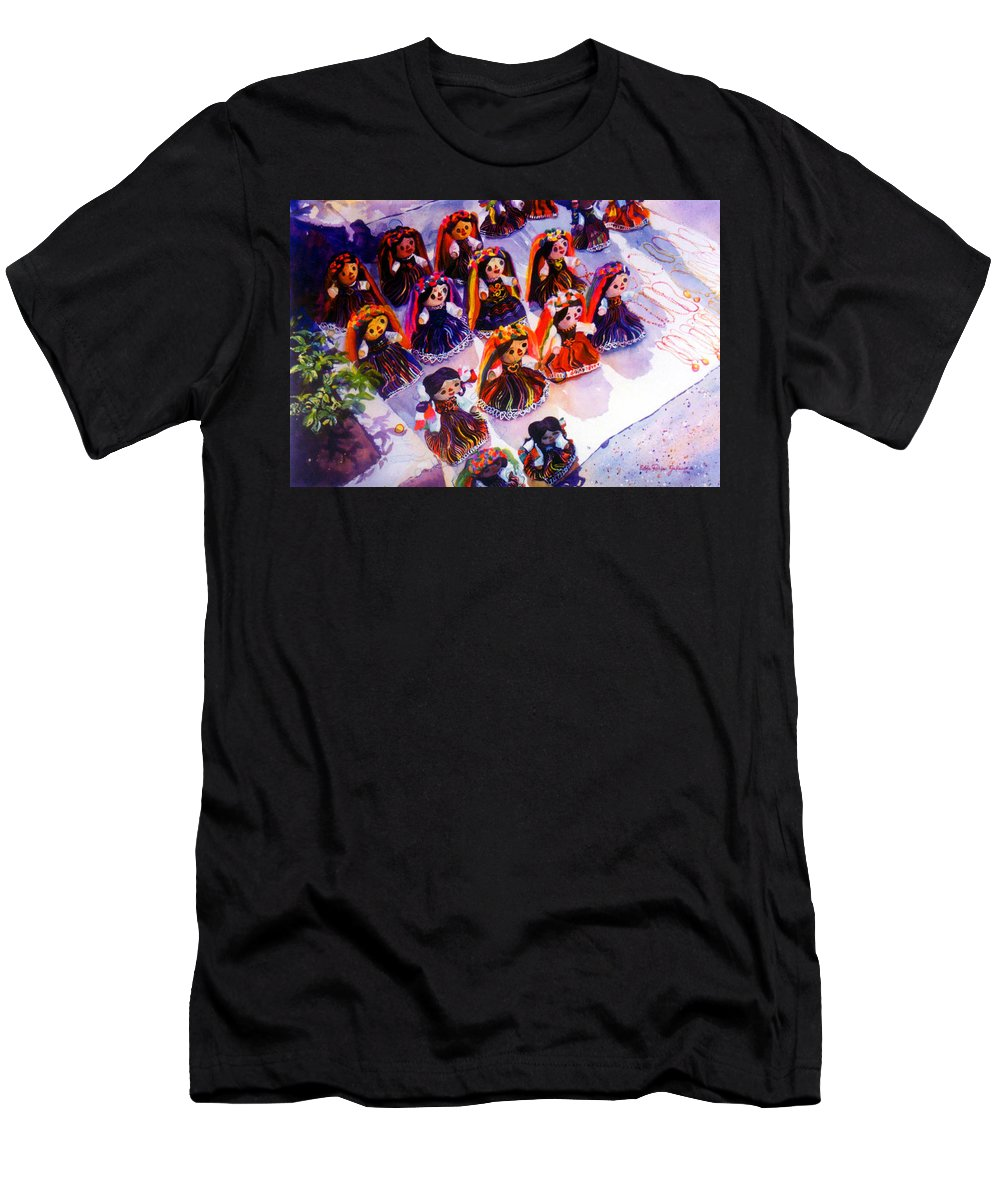 Mexico Paintings Men's T-Shirt (Athletic Fit) featuring the painting Mexican Dolls by Estela Robles