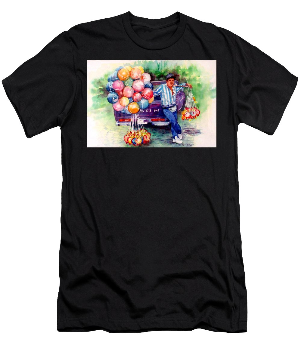 Mexico Paintings Men's T-Shirt (Athletic Fit) featuring the painting Mexico-globero by Estela Robles