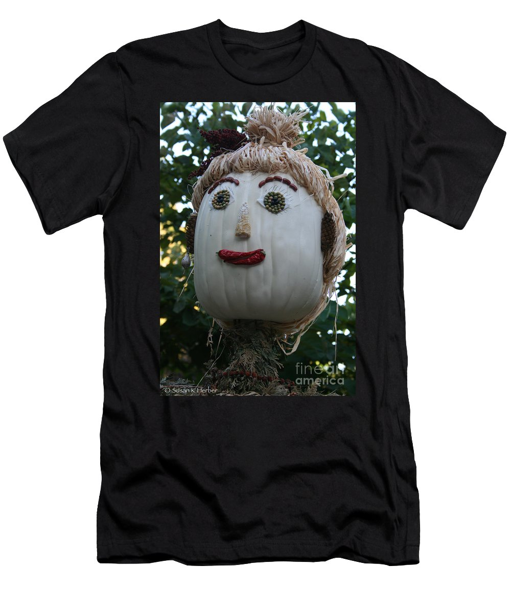Fall Men's T-Shirt (Athletic Fit) featuring the photograph Miss Julia Scarecrow by Susan Herber