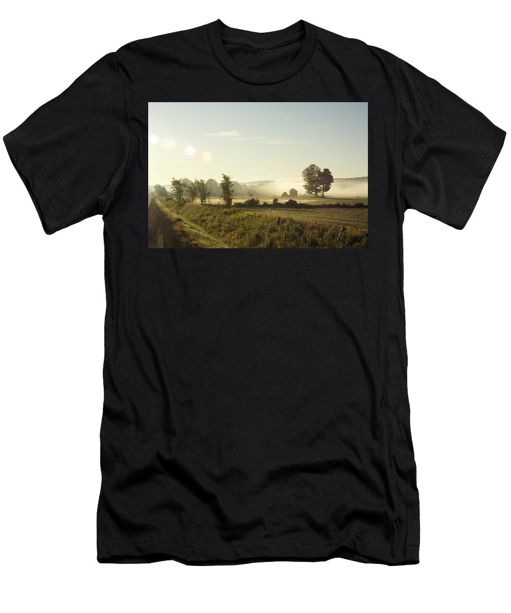 Morning Men's T-Shirt (Athletic Fit) featuring the photograph Misty Lines by Elaine Mikkelstrup