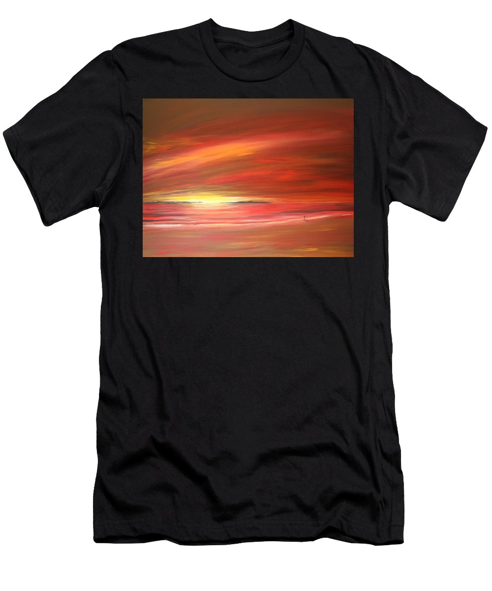 Sunset Men's T-Shirt (Athletic Fit) featuring the painting Mitchell Beach Lost by Naomi Walker