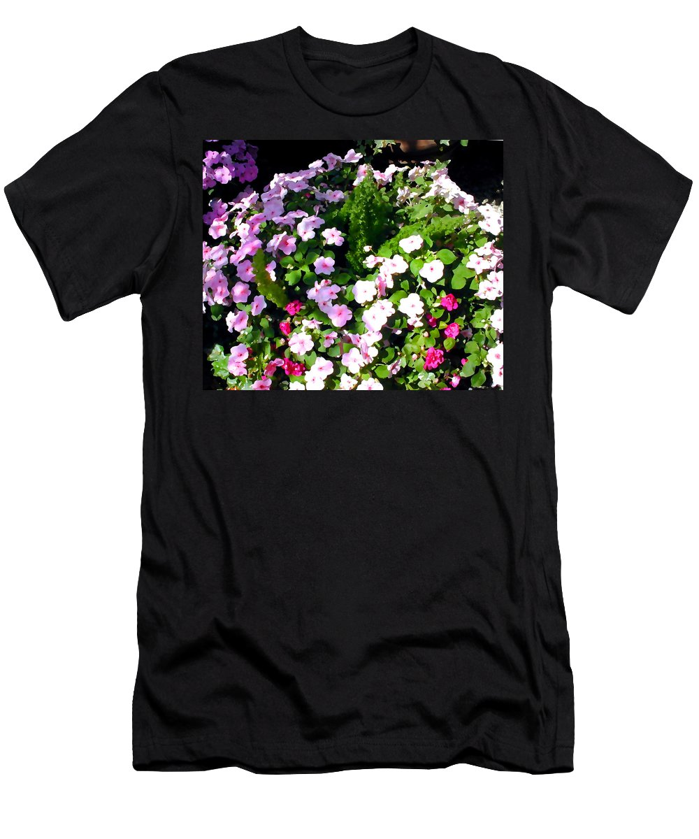 Flower Flowers Garden Impatiens Shady Flora Floral Nature Natural Shady Pink Rose Men's T-Shirt (Athletic Fit) featuring the painting Mixed Impatiens In Dappled Shade by Elaine Plesser