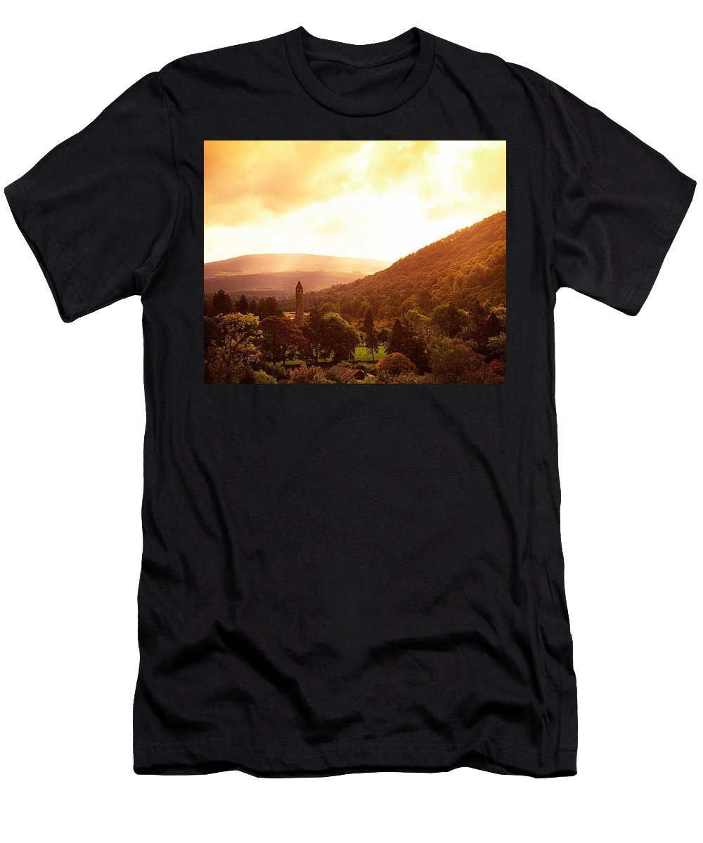 Christian Faith Men's T-Shirt (Athletic Fit) featuring the photograph Monastic Site, Glendalough, Co Wicklow by The Irish Image Collection