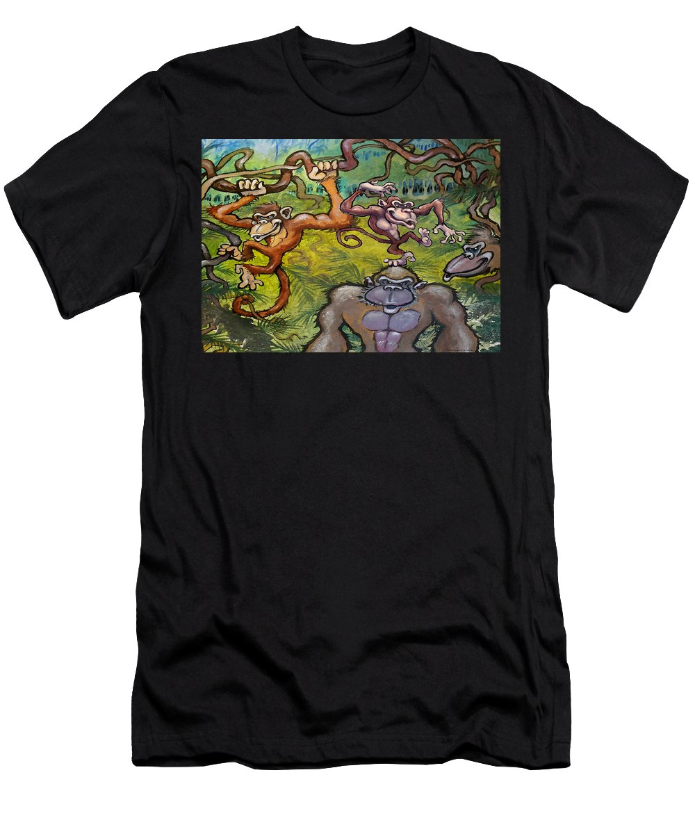 Monkey Men's T-Shirt (Athletic Fit) featuring the painting Monkey Business by Kevin Middleton