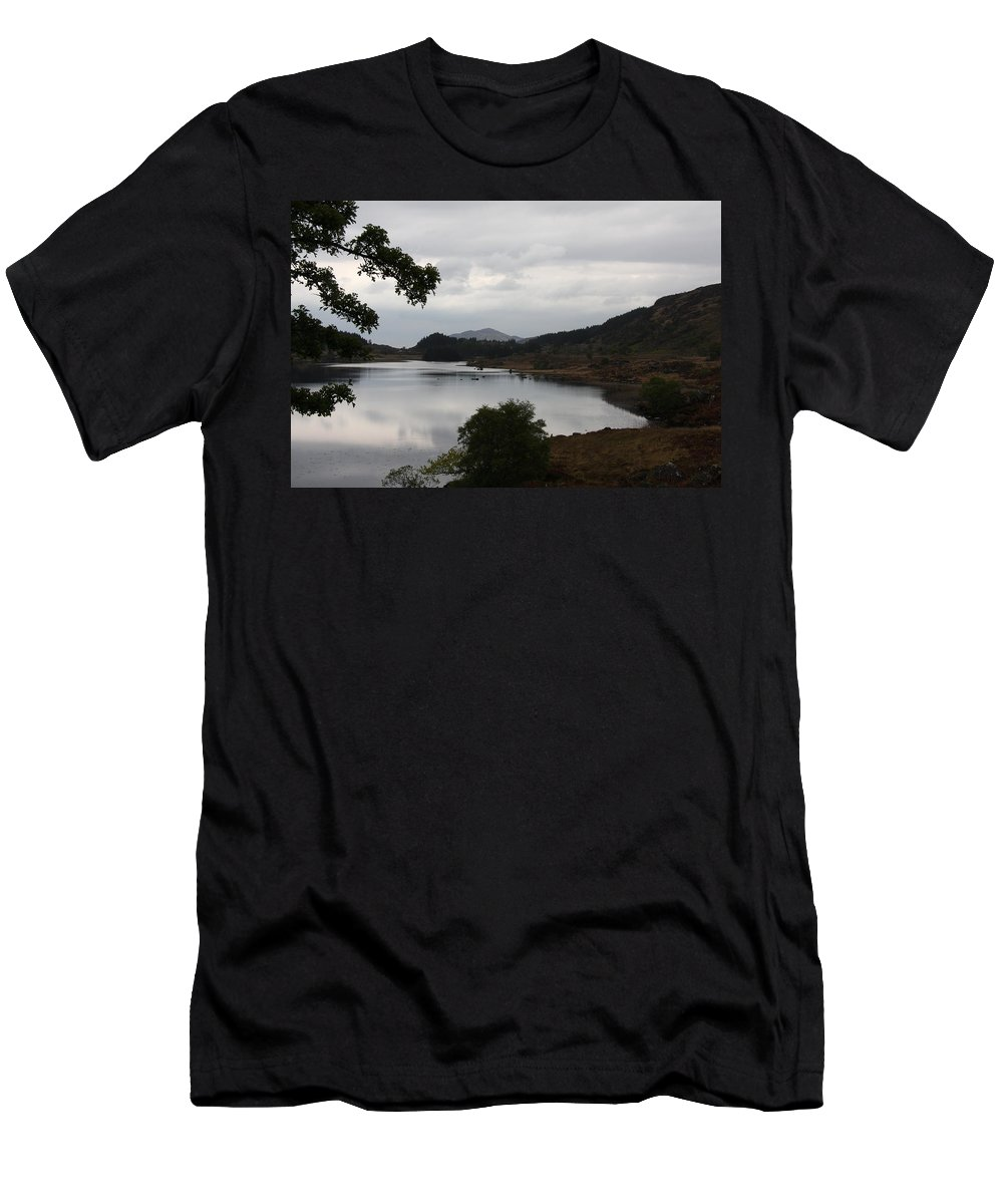Evening Mood Men's T-Shirt (Athletic Fit) featuring the photograph Moody Lake - Ring Of Kerry - Ireland by Christiane Schulze Art And Photography