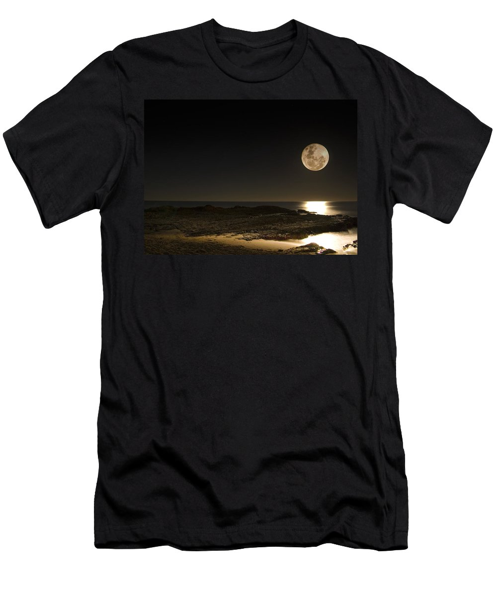 Moon Rise Men's T-Shirt (Athletic Fit) featuring the photograph Moon Over Curumbin by Rebecca Akporiaye
