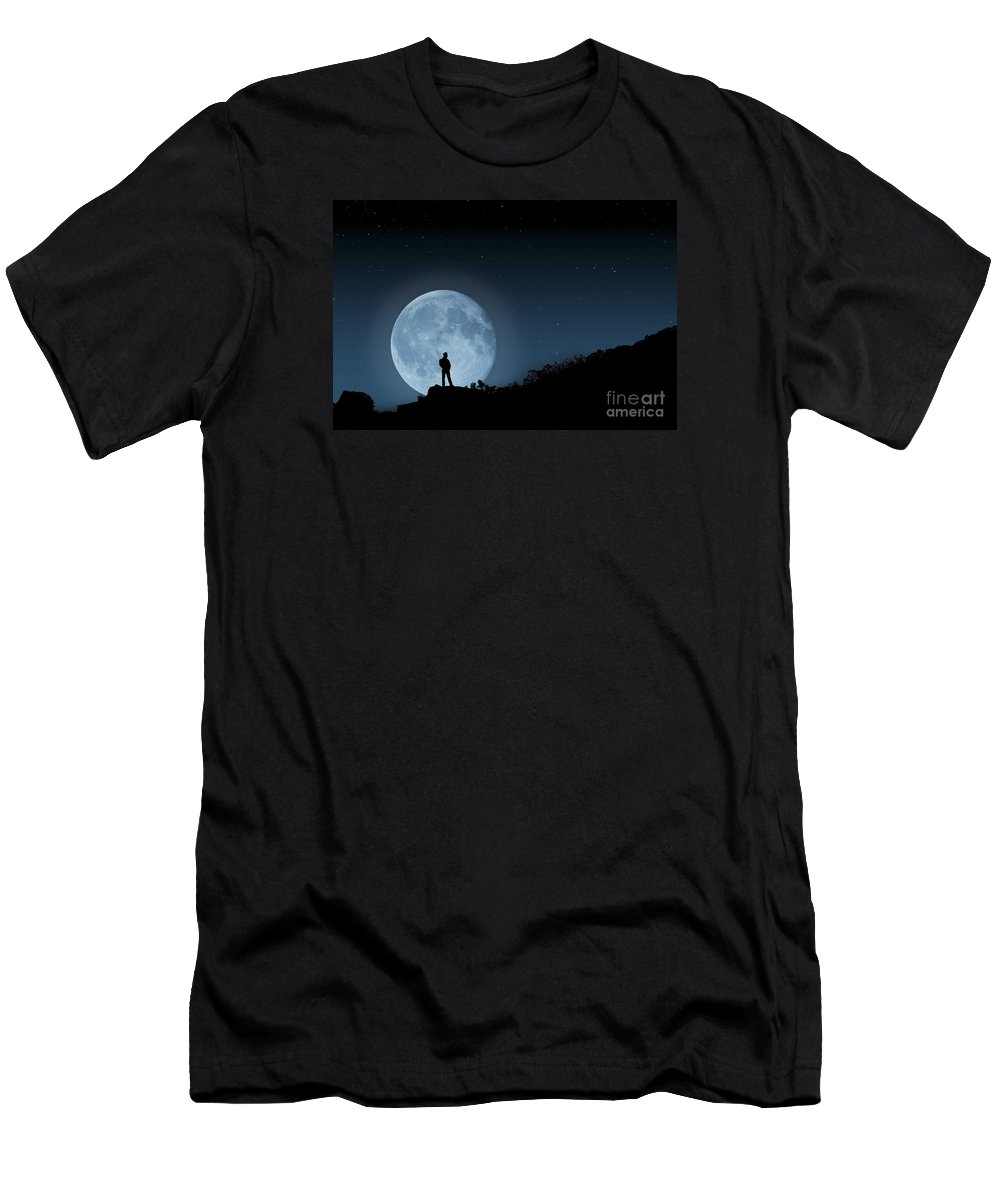 Moonlit Solitude Men's T-Shirt (Athletic Fit) featuring the photograph Moonlit Solitude by Steve Purnell