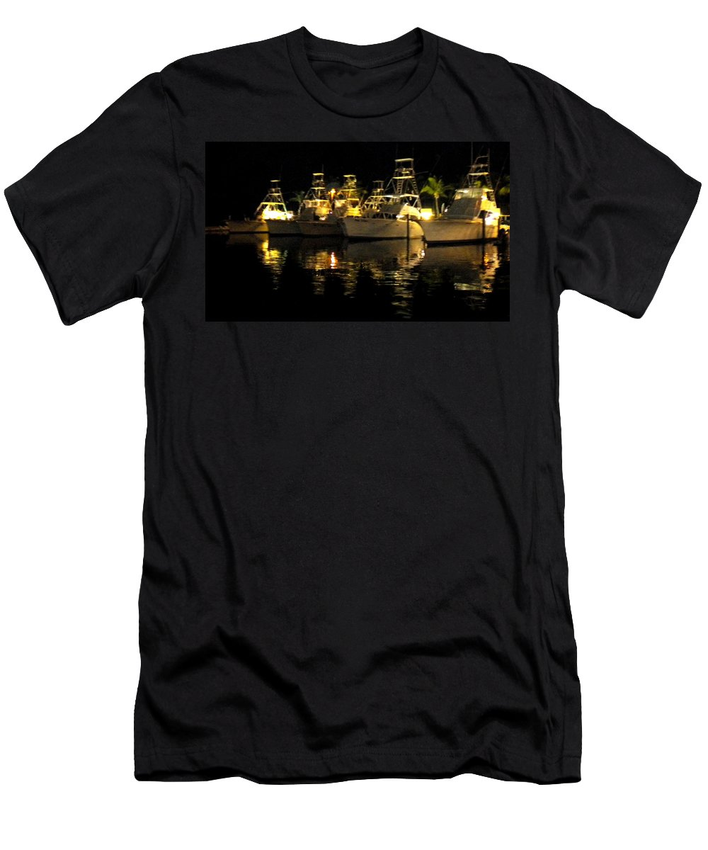 Boats Men's T-Shirt (Athletic Fit) featuring the painting Moored by Renate Nadi Wesley