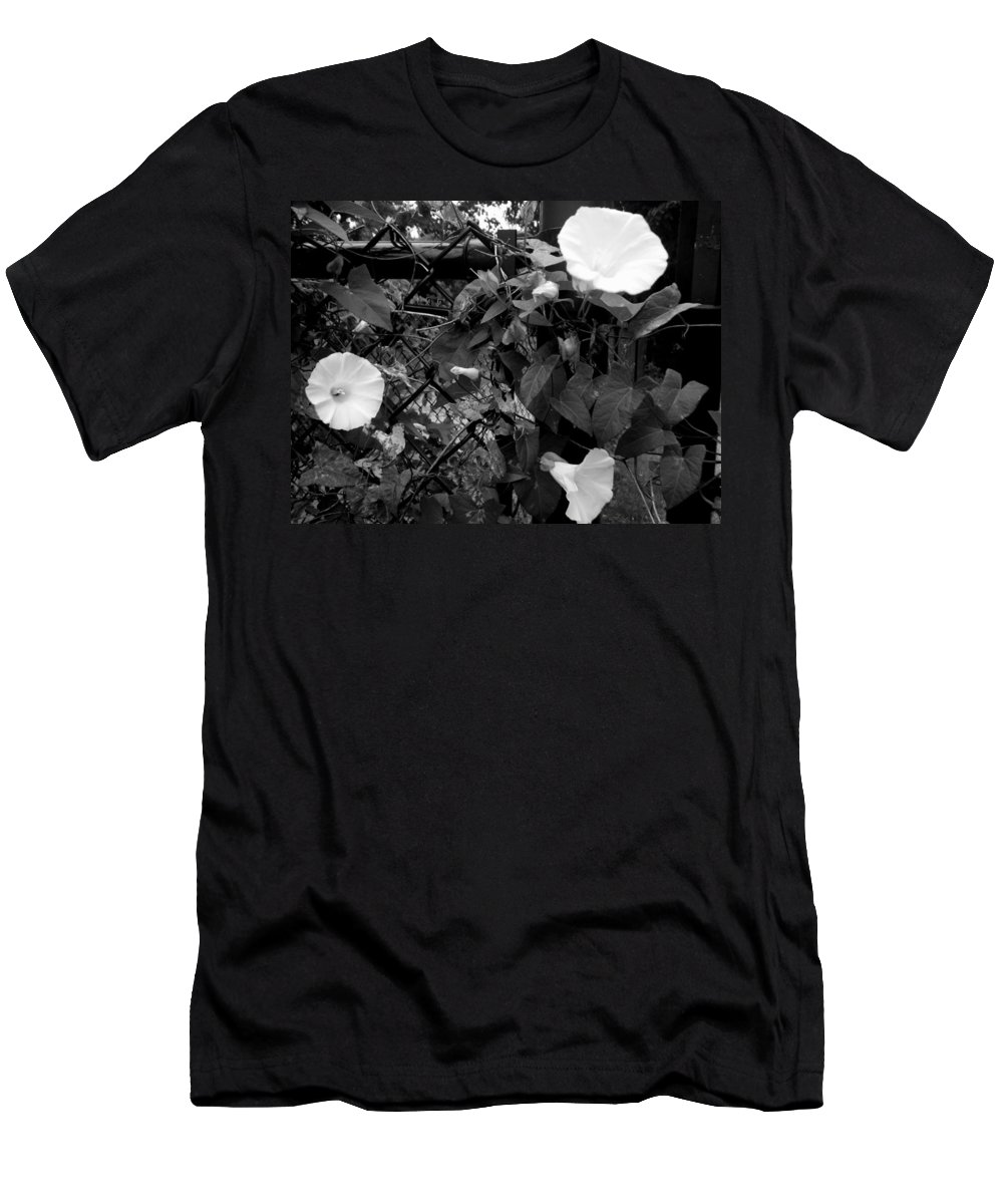 Landscapes Men's T-Shirt (Athletic Fit) featuring the photograph Morning Glorys On A Fence by April Patterson