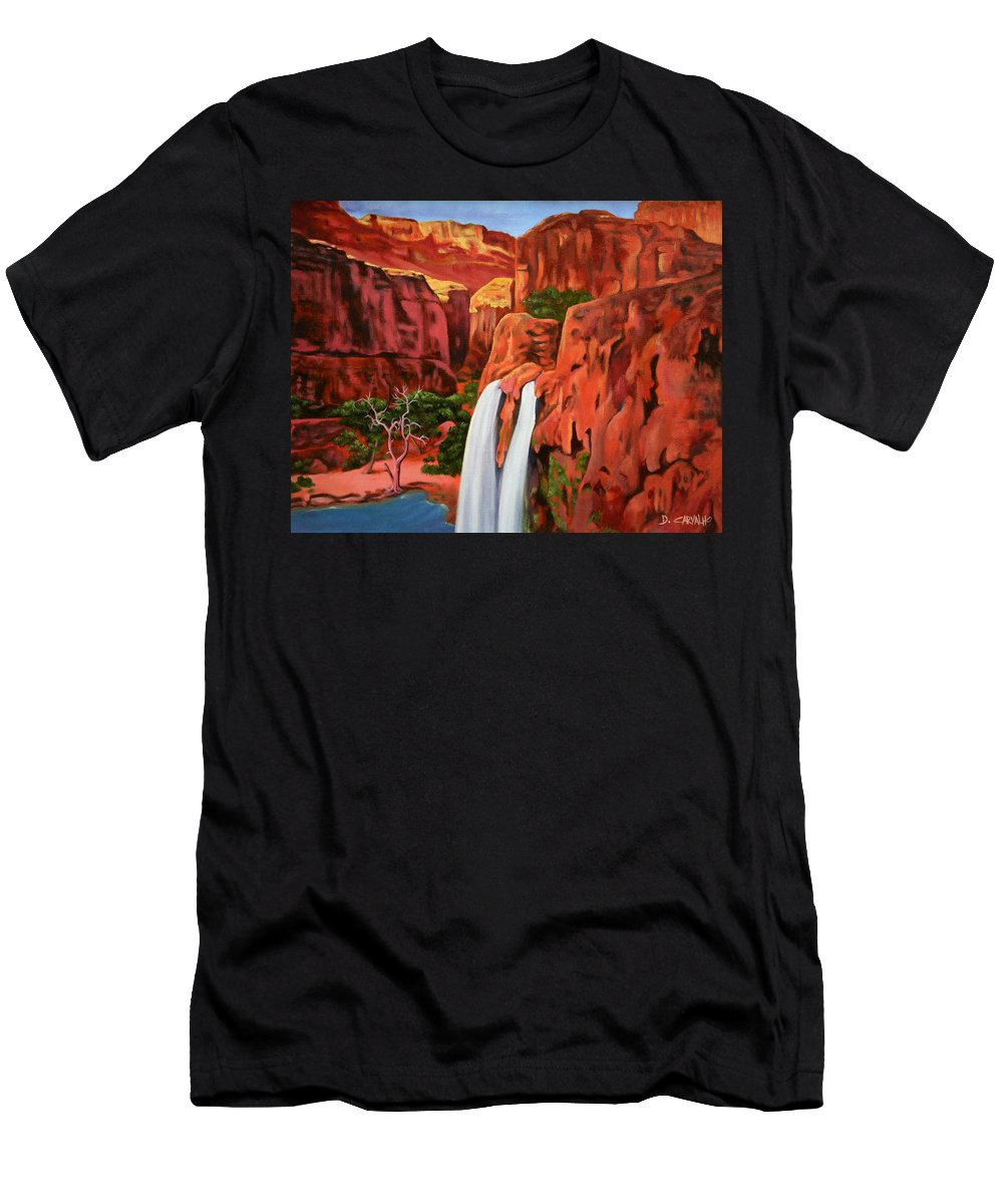 Grand Canyon Men's T-Shirt (Athletic Fit) featuring the painting Morning In The Canyon by Daniel Carvalho