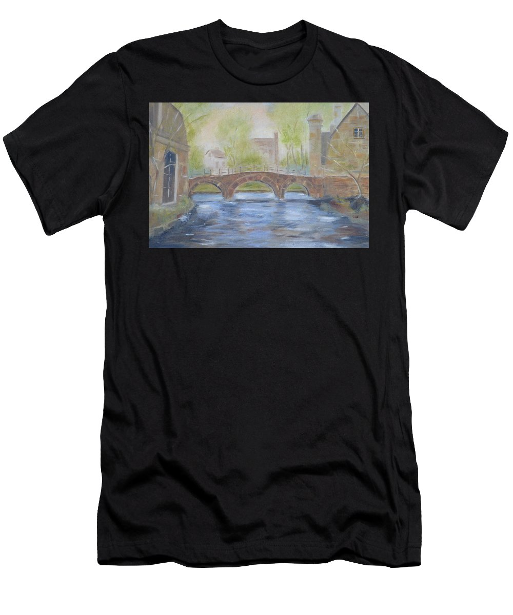 River Men's T-Shirt (Athletic Fit) featuring the painting Morning On The Meuse by Patricia Caldwell