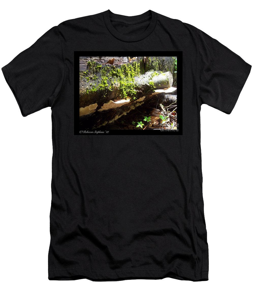 Mushroom Men's T-Shirt (Athletic Fit) featuring the photograph Mossy Waterfall On Mushroom Rock by Rebecca Stephens