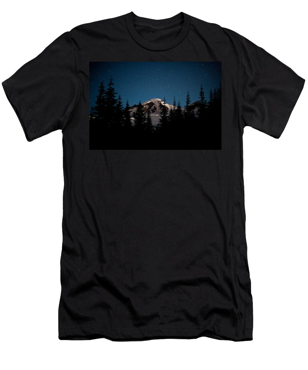 Mount Baker Men's T-Shirt (Athletic Fit) featuring the photograph Mount Baker Starry Night by Mike Reid
