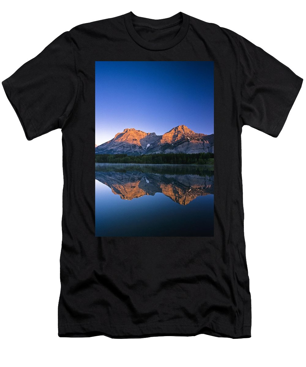 Beauty In Nature Men's T-Shirt (Athletic Fit) featuring the photograph Mount Kidd Reflected In Wedge Pond by Bilderbuch