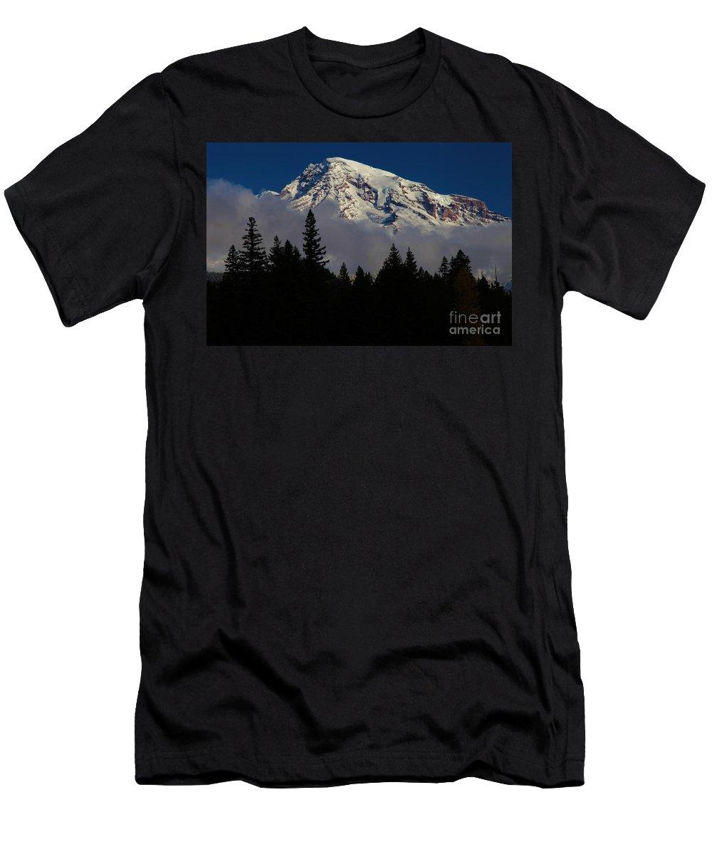 Mt Rainier Clouds Men's T-Shirt (Athletic Fit) featuring the photograph Mt. Rainier by Adam Jewell
