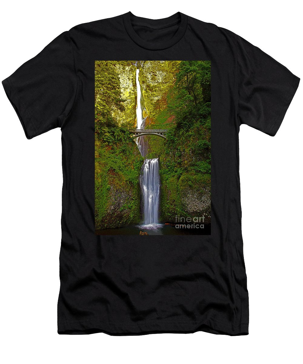 Oregon Men's T-Shirt (Athletic Fit) featuring the photograph Multnomah Falls At Summer Solstice - Posterized by Rich Walter