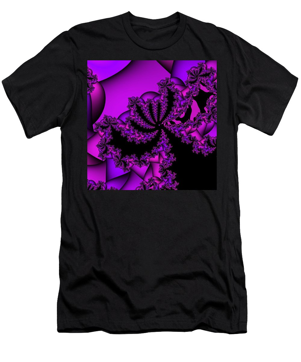 Purple Fractal Men's T-Shirt (Athletic Fit) featuring the digital art Mystery by Christy Leigh