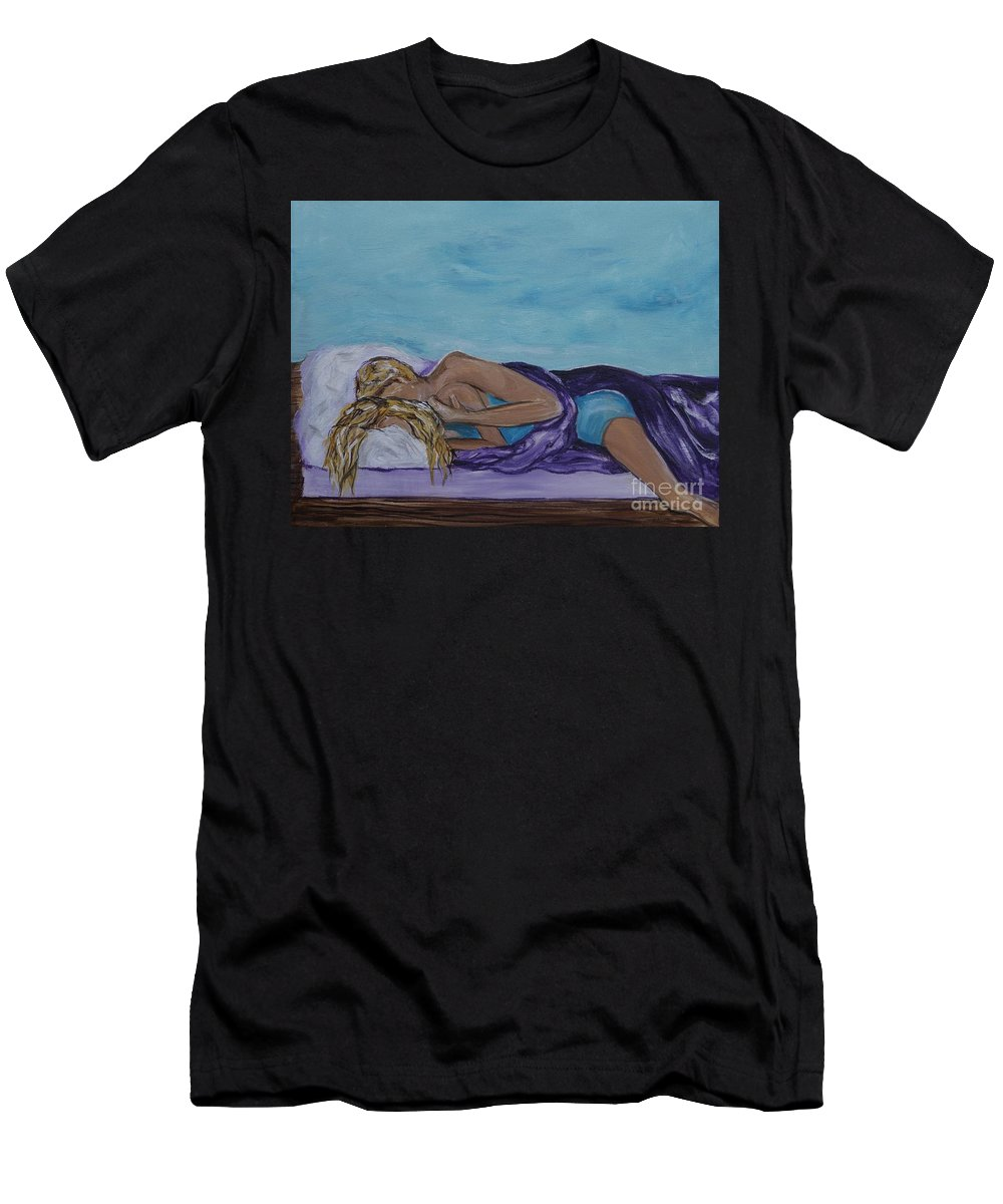 Couple Canvas Print Men's T-Shirt (Athletic Fit) featuring the painting Napping On The Deck by Leslie Allen