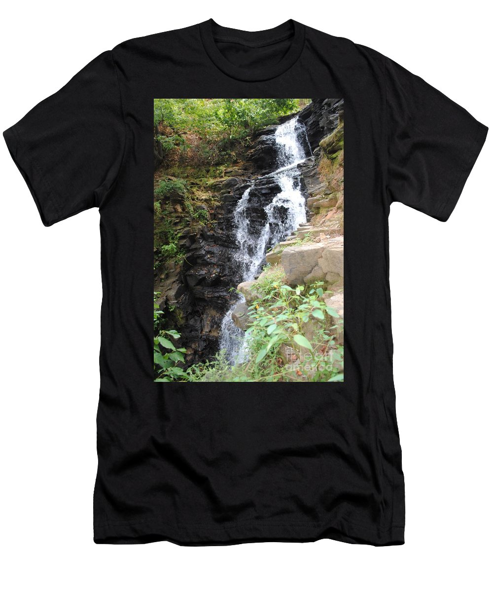 Waterfall Men's T-Shirt (Athletic Fit) featuring the photograph Nature Falls by Jost Houk