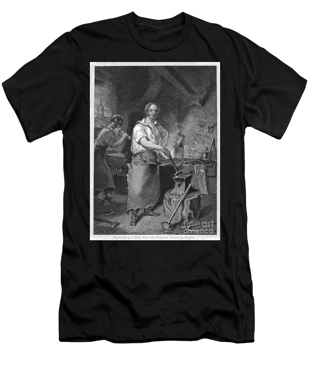 1829 Men's T-Shirt (Athletic Fit) featuring the photograph Neagle: Blacksmith, 1829 by Granger