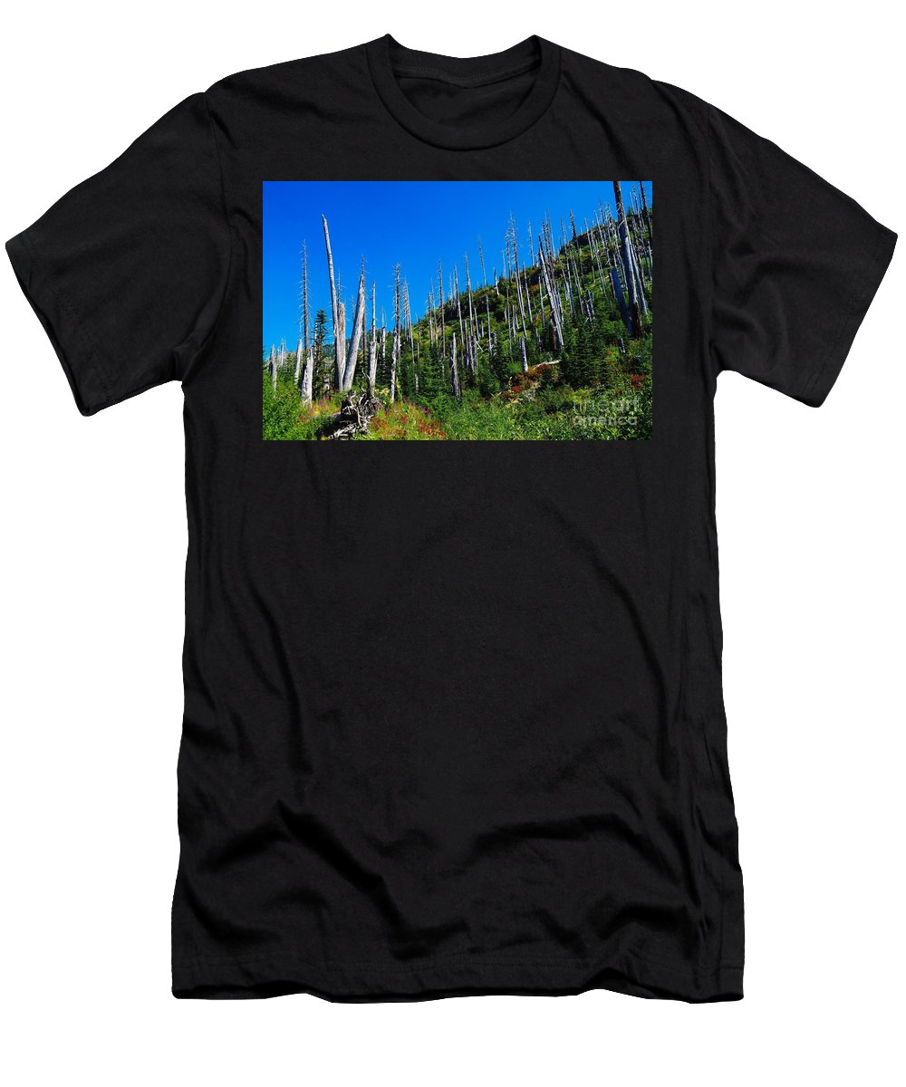 Trees Men's T-Shirt (Athletic Fit) featuring the photograph Near The End Of The Blow Out by Jeff Swan