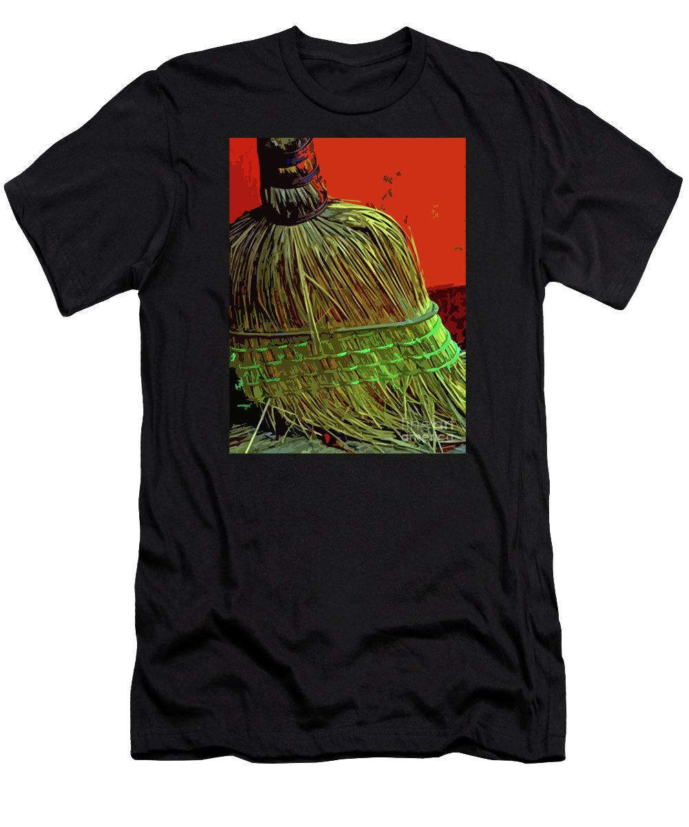 Broom Men's T-Shirt (Athletic Fit) featuring the photograph Need Work Have Experience by Joe Jake Pratt