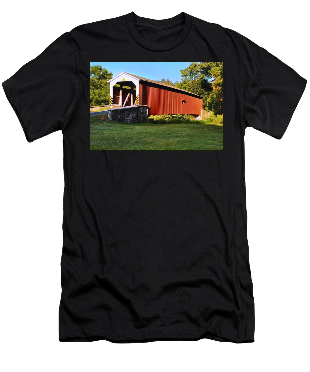 Neff's Men's T-Shirt (Athletic Fit) featuring the photograph Neff's Mill Covered Bridge In Lancaster County Pa. by Bill Cannon