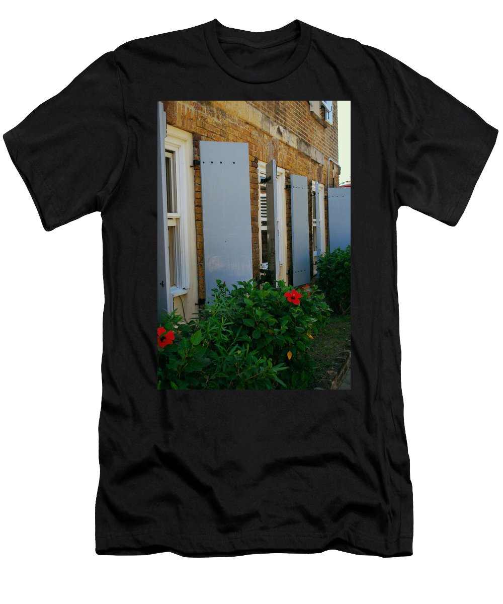 Antigua Men's T-Shirt (Athletic Fit) featuring the photograph Nelson's Dockyard Street Scene by Gary Wonning