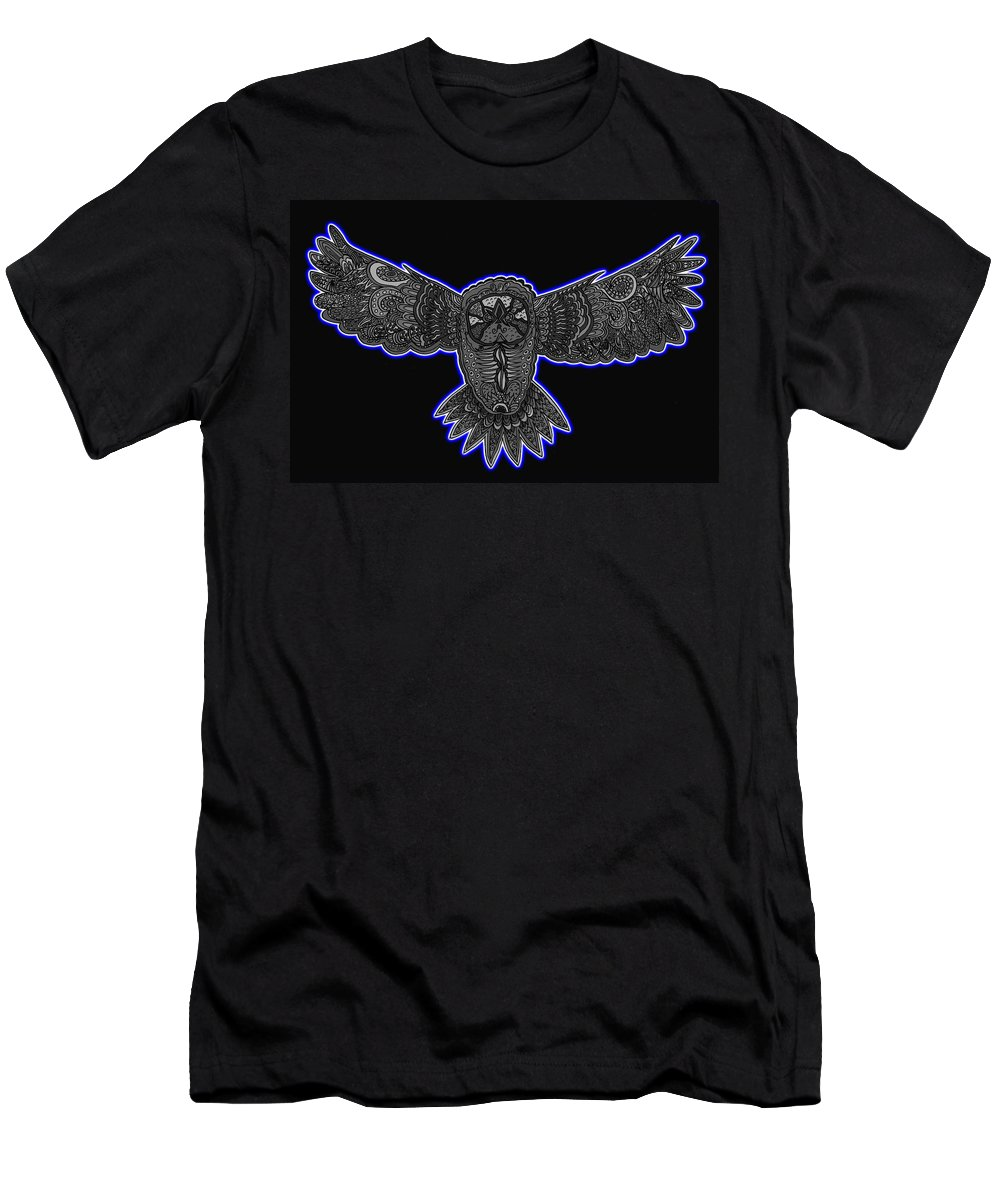 Owl Men's T-Shirt (Athletic Fit) featuring the mixed media Neon Owl by Karen Elzinga