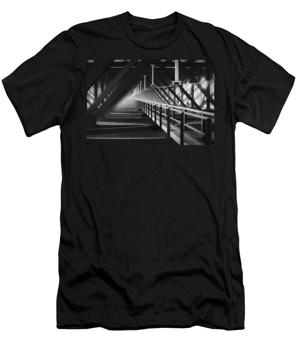 Bridgewalk Men's T-Shirt (Athletic Fit) featuring the photograph New River Gorge Bridge Catwalk by Teresa Mucha