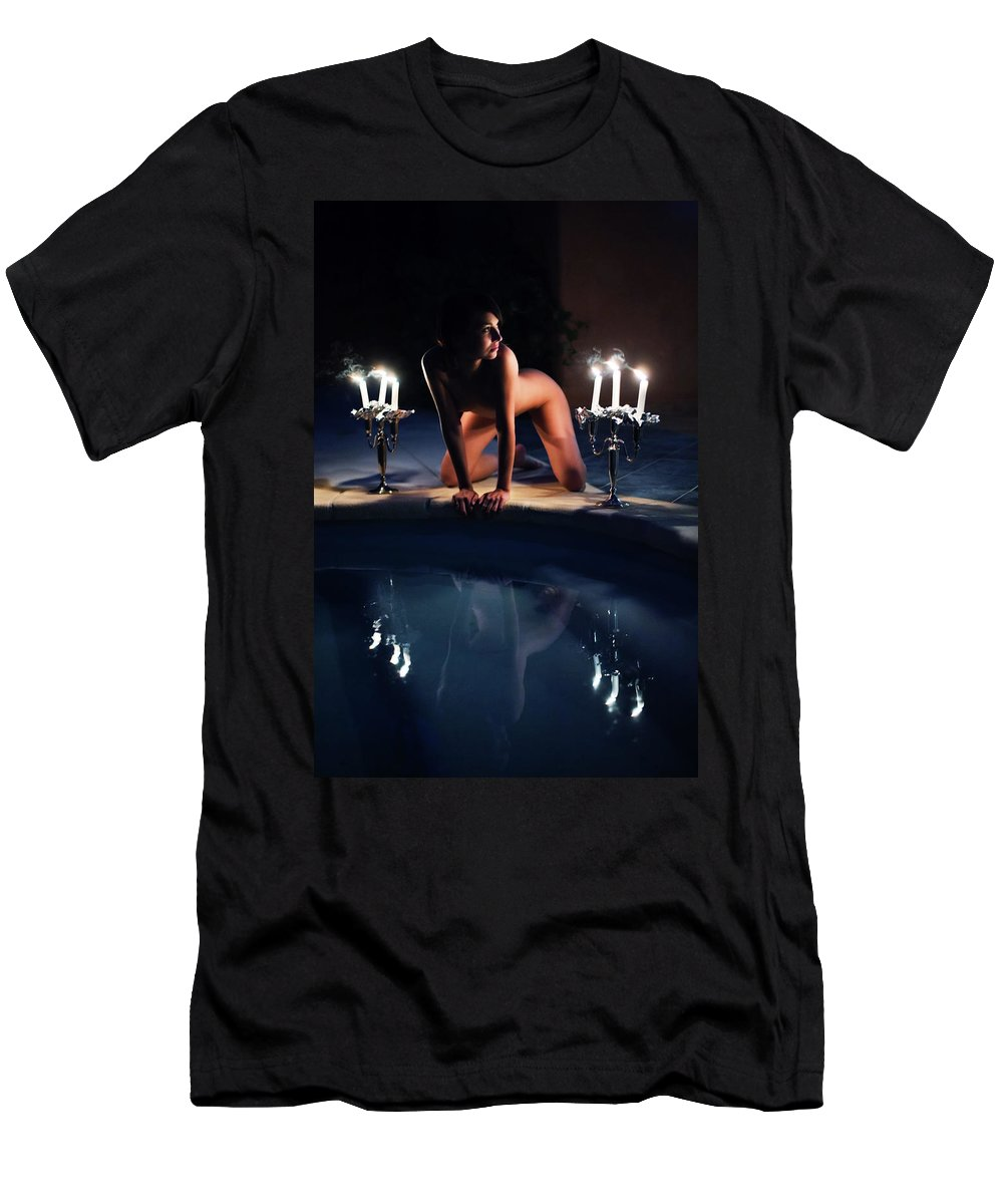 Color Men's T-Shirt (Athletic Fit) featuring the photograph Night Pool by Olivier De Rycke