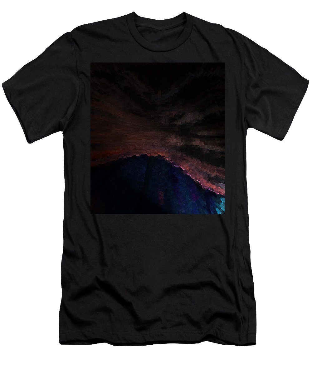 Abstract Men's T-Shirt (Athletic Fit) featuring the digital art Night Scene by Lenore Senior