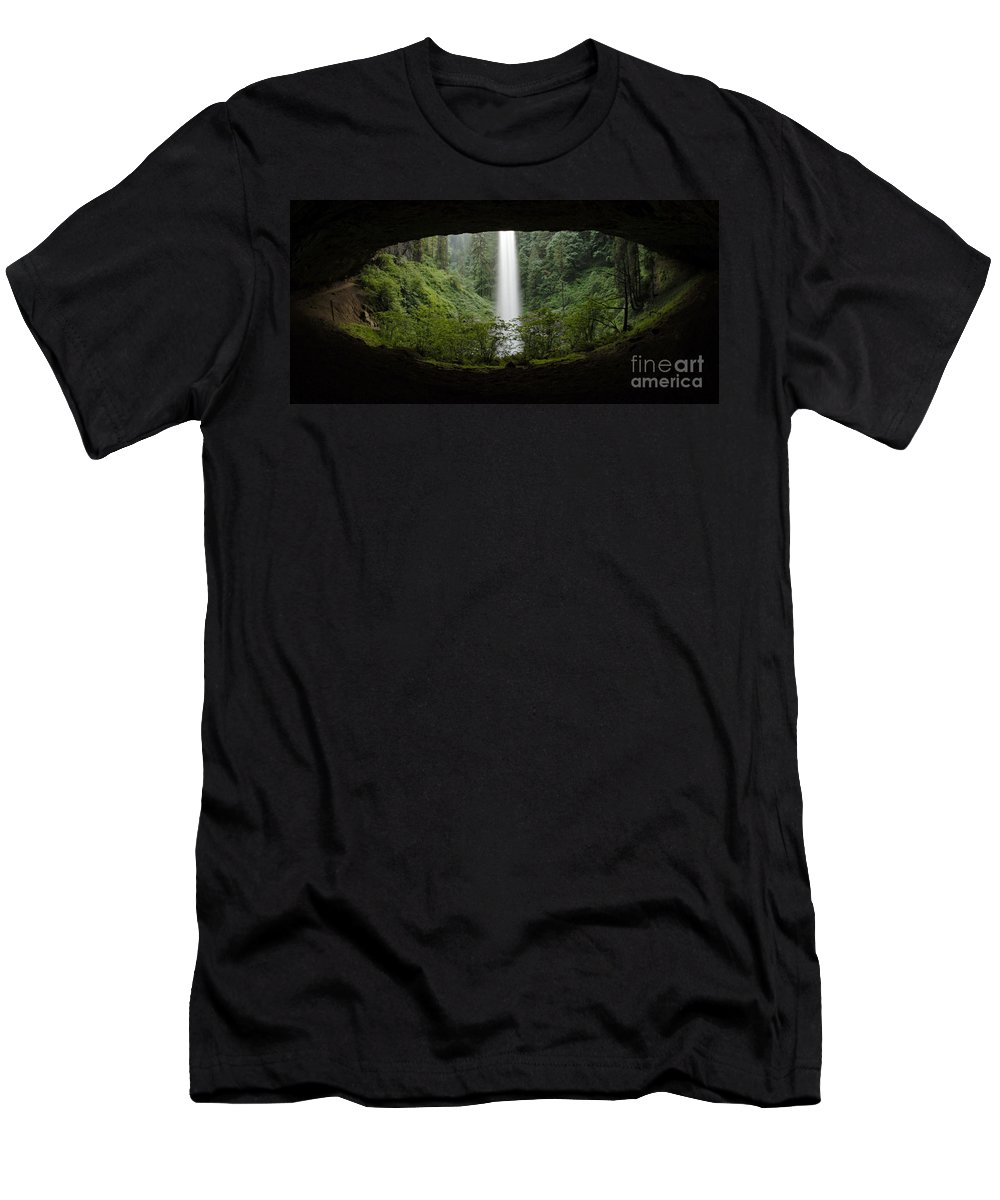 North Falls Men's T-Shirt (Athletic Fit) featuring the photograph North Falls Oregon 2 by Bob Christopher