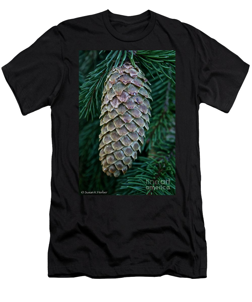 Outdoors Men's T-Shirt (Athletic Fit) featuring the photograph Norway Spruce Cone by Susan Herber