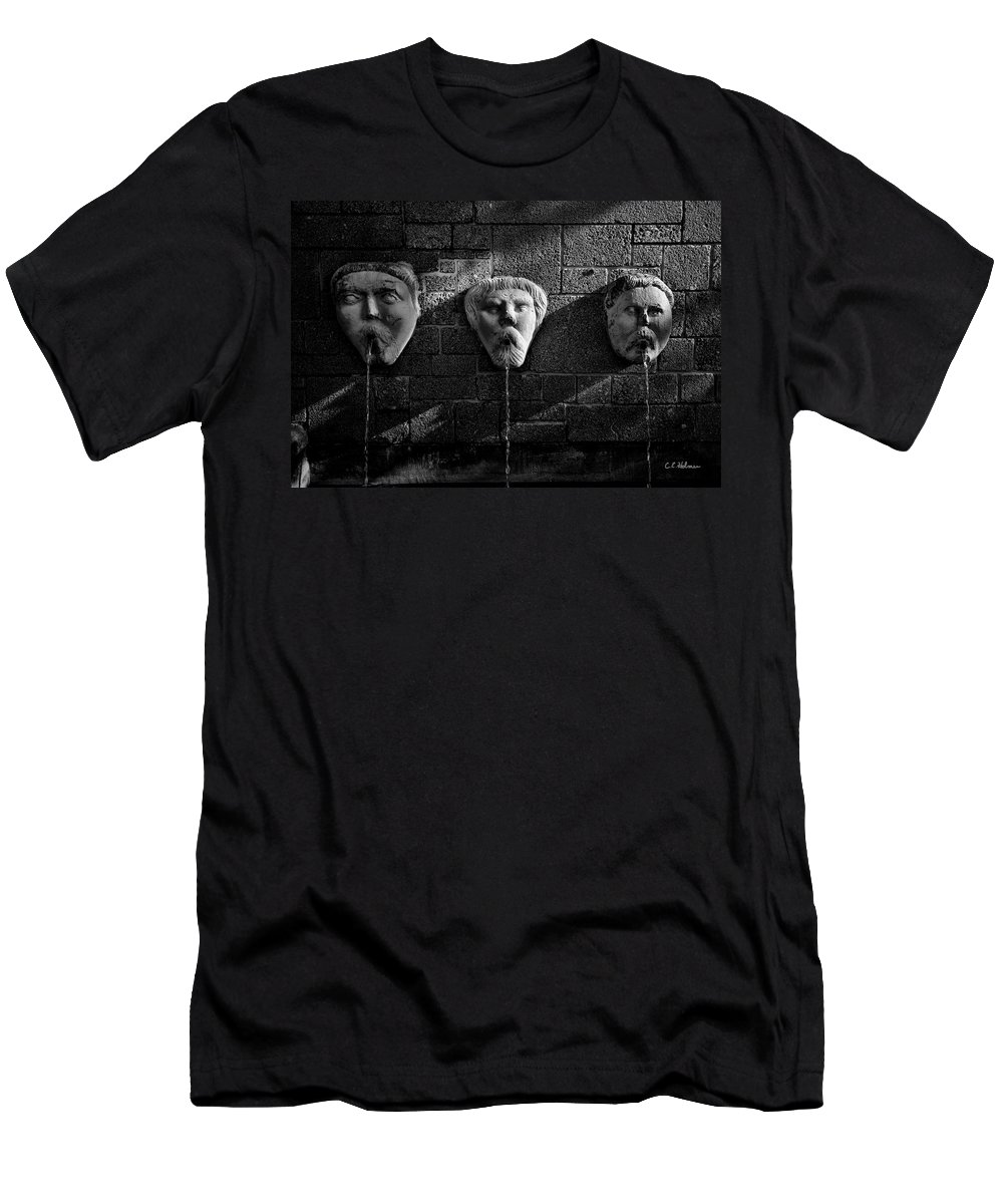 Fountain Men's T-Shirt (Athletic Fit) featuring the photograph Not A Word by Christopher Holmes