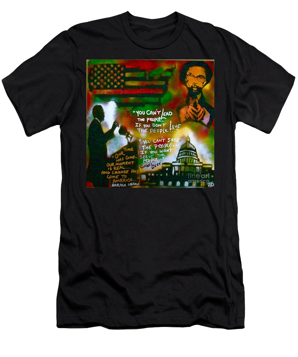 Barack Obama Men's T-Shirt (Athletic Fit) featuring the painting Obama Vs. Cornel by Tony B Conscious