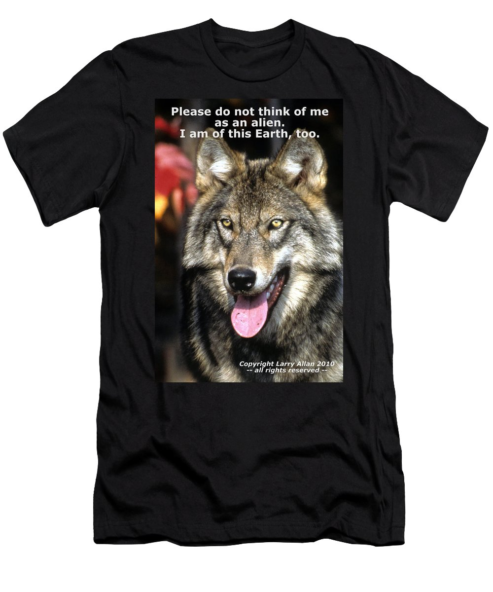 Gray Wolf Men's T-Shirt (Athletic Fit) featuring the photograph Of This Earth by Larry Allan