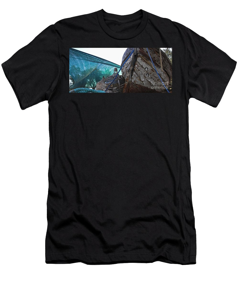 Boat Men's T-Shirt (Athletic Fit) featuring the photograph Old Boat And Flagons by Andy Prendy