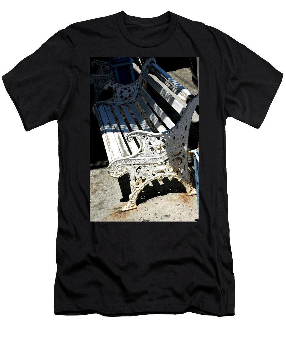 Usa Men's T-Shirt (Athletic Fit) featuring the photograph Old Cast Iron Bench Virginia City Nevada by LeeAnn McLaneGoetz McLaneGoetzStudioLLCcom