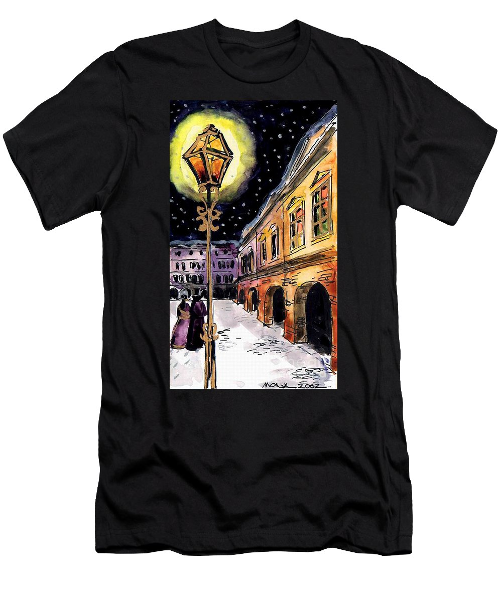 Old Time Evening Men's T-Shirt (Athletic Fit) featuring the painting Old Time Evening by Mona Edulesco