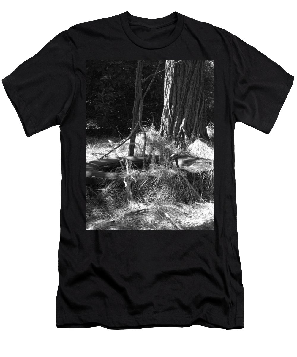 Black And White Men's T-Shirt (Athletic Fit) featuring the photograph Old Tire by Michele Nelson