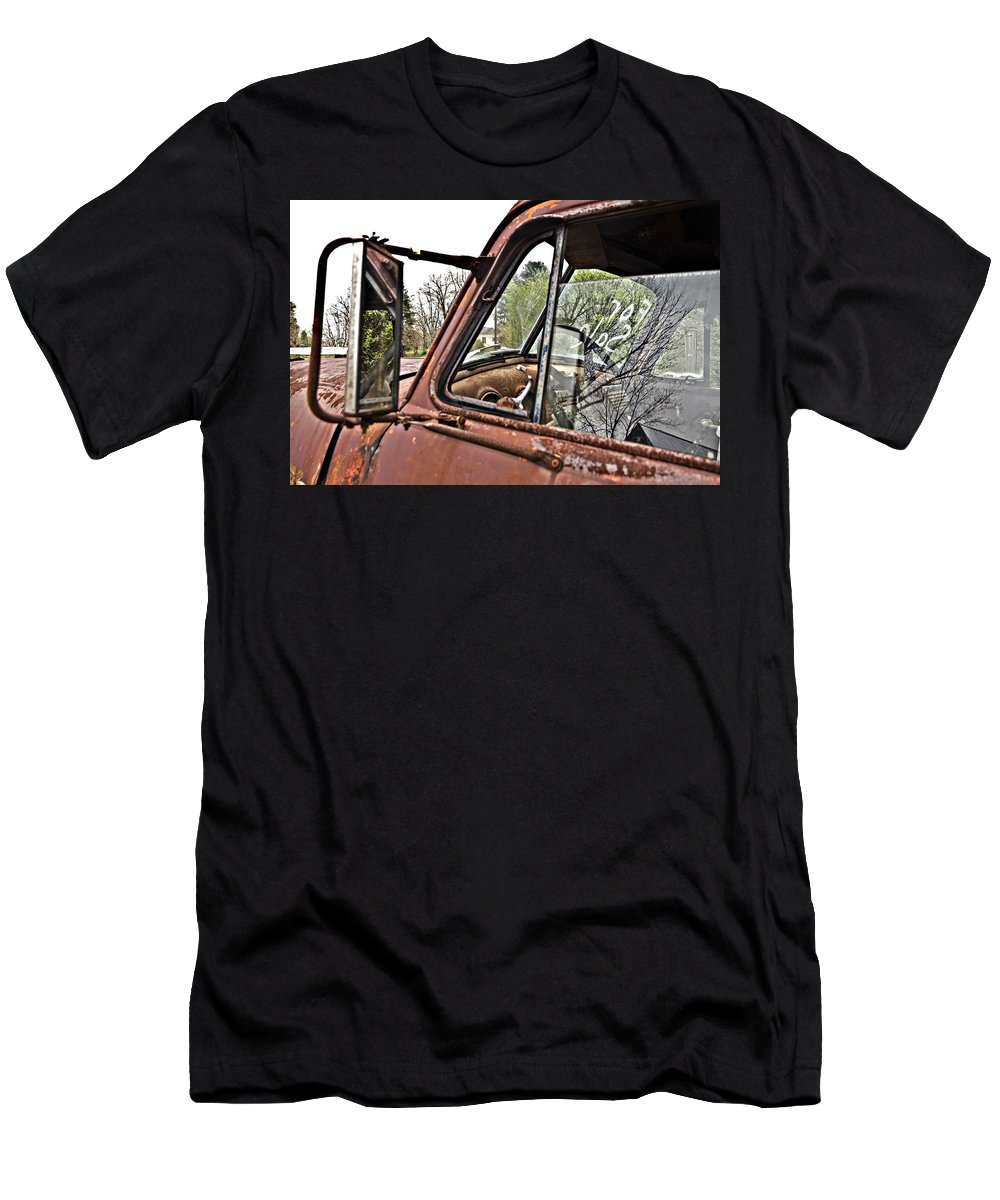 Antique Men's T-Shirt (Athletic Fit) featuring the photograph Old Truck Mirror by Susan Leggett