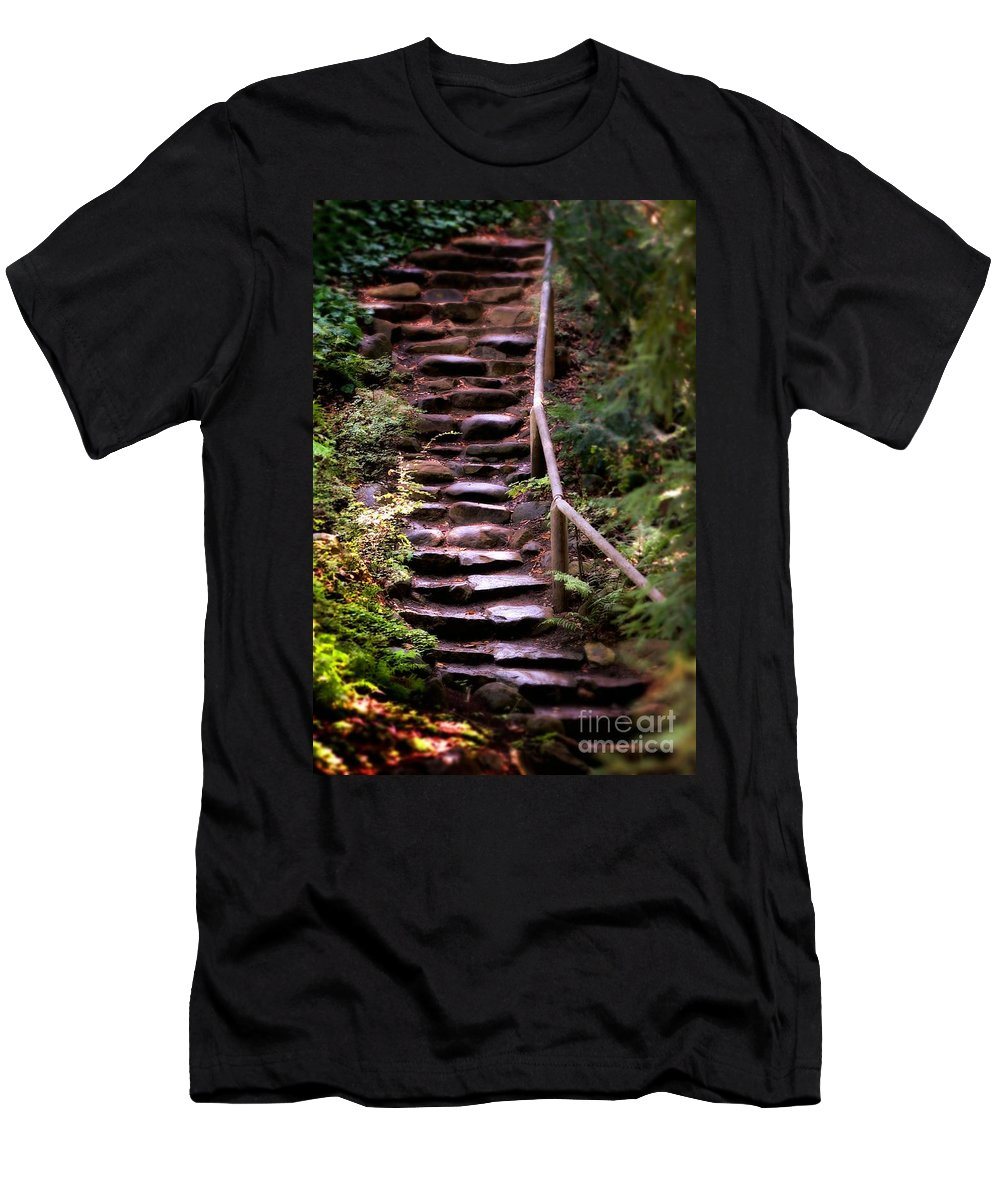 Ancient Men's T-Shirt (Athletic Fit) featuring the photograph Old Wet Stone Steps by Henrik Lehnerer